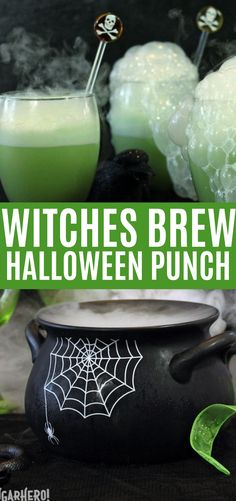 Halloween Punch (Witches Brew) Recipe This Witchs Brew Halloween Punch will make all your goblins grin! Its an easy sparkling lime punch the whole family will love. Add dry ice to the punch bowl for an extra-spooky effect! Dry Ice Halloween, Halloween Punch Bowl, Halloween Punch For Kids, Halloween Party Drinks, Halloween Appetizers, Theme Halloween, Diy Halloween, Halloween Decorations, Halloween Witches