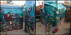 Sea scape mural.   Denver street art
