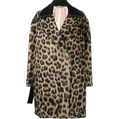 Nº21 leopard print coat ($2,376) ❤ liked on Polyvore featuring outerwear, coats, brown, brown coat, short double breasted coat, short coat, long sleeve coat and leopard print coat