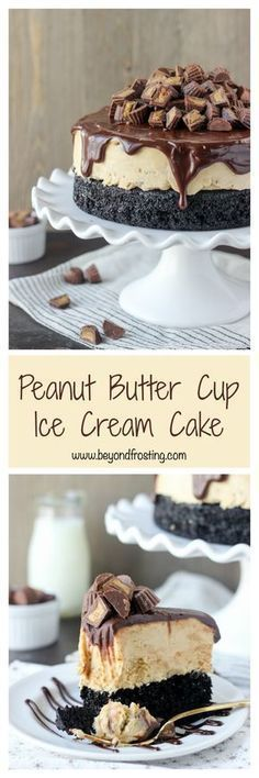 This decadent layered Peanut Butter Cup Ice Cream Cake is a homemade chocolate cake layered with a no-churn peanut butter ice cream and it's covered with chocolate ganache. This cake is a peanut butter lover's dream.