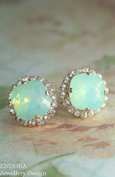 Mint green opal earrings | rose gold and mint green opal earrings | Mint green wedding | www.endorajewellery.etsy.com