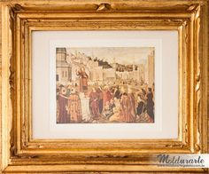 """Quadro """"Monte Anrine"""" (gravura) com moldura dourada entalhada à mão. Fomato: 40 x 50 cm. Cód. 3904. contato@moldurartegaleria.com.br"""