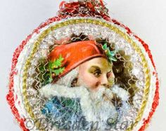 Santa with Fur Collar on Silver Indent with Crocheted Lace