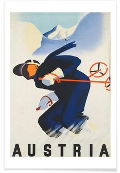 Austria poster on sale at theposterdepot. Poster sizes for all occasions. Always Fast secure shipping from USA seller. Austria Poster for sale. Old Poster, Poster Art, Retro Poster, Kunst Poster, Print Poster, Ski Vintage, Vintage Ski Posters, Ski Austria, Austria Winter