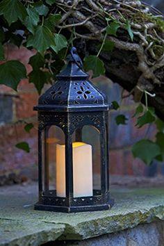 Smart Lanterne marocaine de jardin avec bougie à p…