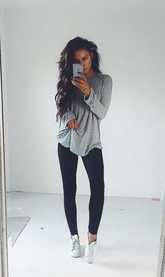 Gray mossimo slouchy tee, black skinny jeans, converse white chucks
