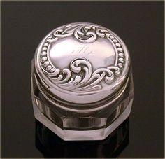Simons Bros. Sterling Vanity  Dresser Jar Rouge Pot Raised Plumes & Dots