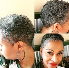 My first real patch of white! Natural Hair Short Cuts, Short Natural Haircuts, Tapered Natural Hair, Short Grey Hair, Short Hair Cuts, Natural Hair Styles, Twa Hairstyles, Sassy Hair, Great Hair