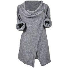 Cupshe Fashion Women's Asymmetric Hem Split Wrap Sweater Poncho Coat
