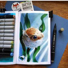 SKETCHMARKER - профессиональные маркеры для дизайнеров, иллюстраторов, художников, любителей манга, граффити и тату иллюстраторов. Рисуй Чаще! Cool Pencil Drawings, Copic Drawings, Amazing Drawings, Copic Marker Art, Copic Art, Sketch Markers, Illustration Sketches, Illustrations, Art Journal Techniques