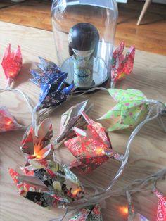 DIY tuto Une guirlande lumineuse à fleurs en origami