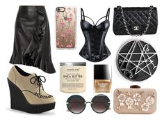 """Black Cream"" by obscura on Polyvore featuring Lanvin, Chanel, Disturbia, Jimmy Choo, Demonia, Casetify and Butter London"