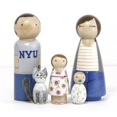 You're such a doll! These personalized family wooden peg dolls are a whimsical and truly unique idea for an original portrait of your family. Choose to have yours displayed in a fun shadow box for added interest. Your new peg doll family will become a cherished conversation piece