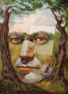Hidden Images: Optical Illusion Paintings by Oleg Shuplyak Face Illusions, Cool Illusions, Op Art, Optical Illusion Paintings, Optical Illusions Drawings, Optical Illusion Images, Illusion Drawings, Illusion Kunst, Street Art