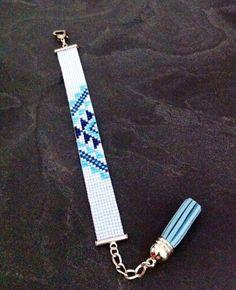 Bracelet Manchette Motif Aztèque Bleu pâle, turquoise et bleu marine !