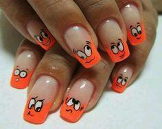 Uñas de caritas naranjas!!