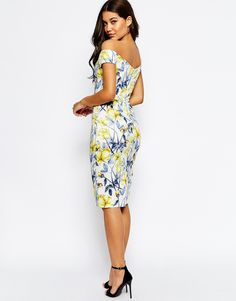 Image 2 ofASOS TALL Bardot Off The Shoulder Hitchcock Midi Pencil Dress In Yellow And Blue Floral