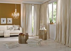 Saum & Viebahn is a textile publisher operating internationally, specialised in high-quality upholstery fabrics, curtains and decorative materi. Country Style Curtains, Soft Furnishings, Interior Inspiration, Upholstery, Living Room, Interior Design, Bedroom, Classic, Table