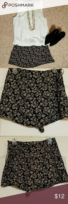 Wrap Skort These shorts are such a great combination of shorts & skirt. From the front, they look like a really sweet wrap, mini-skirt. From the back, a great pair of shorts! The neutral colors make a great background for whatever you pair w/ it. NWOT Forever 21 Shorts Skorts