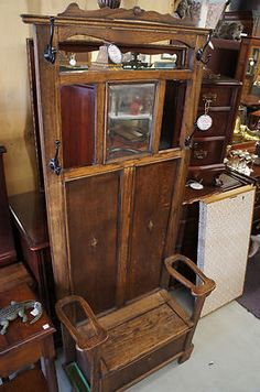 Antique Carved Oak Victorian Hall Tree Coat Stand Mirror