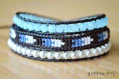 Blue Wrap Bracelet // Triple Leather Wrap Bracelet // Bohemian // Chevron