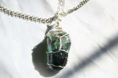 Fluorite Stone Wire Wrapped Pendant by CrystalLuvJewelry on Etsy, $18.00