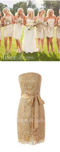 bridesmaid dresses, short bridesmaid dresses, lace bridesmaid dresses, champagne bridesmaid dresses, bridesmaid dresses with ribbon
