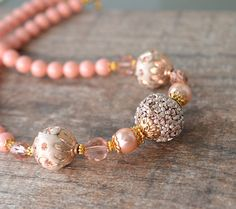 Chunky Bead Necklace Peach Embellished Polymer Clay with Swarovski Simulated Coral and Crystal