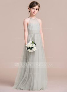 [US$ 87.49] A-Line/Princess Floor-length Flower Girl Dress - Tulle Sleeveless Scoop Neck With Ruffles