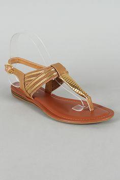 0f1f11b38 Bamboo Steno-94 Metallic Trim T-Strap Flat Sandal Need some new gold sandals