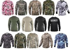 Military Camouflage Solids Poly Cotton Military Fashionable Long Sleeve T-Shirts | eBay