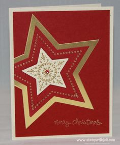 Stampin' Up! layered Bright and Beautiful star . luv the shiny gold bottom layer and off-the -edge placement . Christmas Card Crafts, Homemade Christmas Cards, Christmas Greetings, Handmade Christmas, Christmas Stars, Christmas 2019, Stampin Up Many Merry Stars, Valentine Day Cards, Holiday Cards