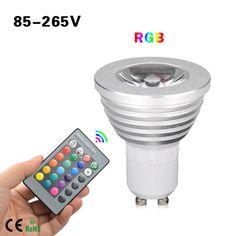 1 unids 16 colores regulable GU10 RGB llevó la lámpara 110 V - 220 V 5 W con 24…