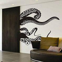 Amazon.com - Tentacles Wall Decal Kraken Octopus Tentacles Wall Sticker Sea Animal Wall Decal Mural Home Art Decor Black -