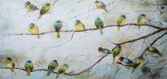schilderij vogels op takken 70x140