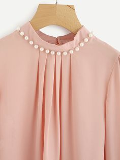 Shop Pearl Beading Chiffon Blouse at ROMWE, discover more fashion styles online. Silk Kurti Designs, Salwar Designs, Sleeves Designs For Dresses, Dress Neck Designs, Kurta Neck Design, Loungewear Set, Feminine Dress, Types Of Sleeves, Chiffon Tops