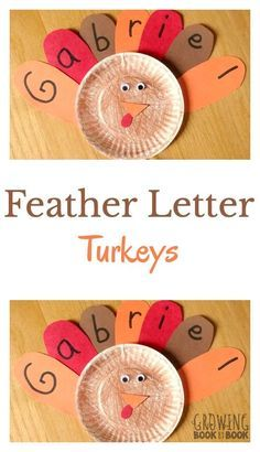 Turkey activities: Paper plate Thanksgiving craft: Turkey feather names. Too cute.