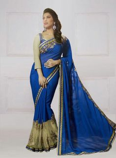 DESIGNER BLUE & BEIGE GEORGETTE EMBROIDERED SAREE WITH BLOUSE