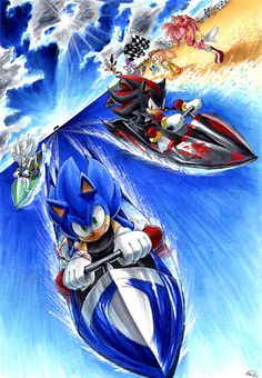 Shadow vs Silver | Sonic vs shadow vs silver in jetsky by SHADX90 on deviantART
