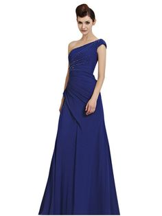 One Shoulder Royal Blue Evening Dress (30132)  £295.00 Simply classy bright royal blue evening dress featuring floor length asymmetric A Line silhouette with flare skirt, side ruche bodice embellished with white, black, and silver crystals all through neckline, strap and back.  This simply elegant evening dress is perfect for your next special event.