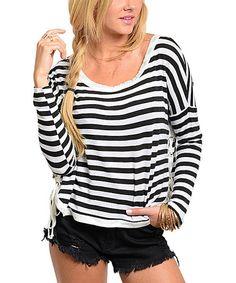 Love this Black & White Stripe Side-Tie Top on #zulily! #zulilyfinds