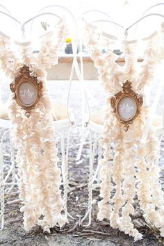 """Ruffled streamers add whimsy to chair backs punctuated with ornate gold """"Mr. Wedding Decorations, Wedding Chairs, Bride and Groom Chairs Wedding Chair Decorations, Wedding Chairs, Wedding Themes, Wedding Events, Wedding Styles, Wedding Ideas, Decor Wedding, Table Wedding, Wedding Receptions"""