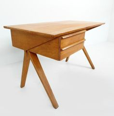 Cees Braakman; #EB02 Birch Desk for Pastoe, c1953.