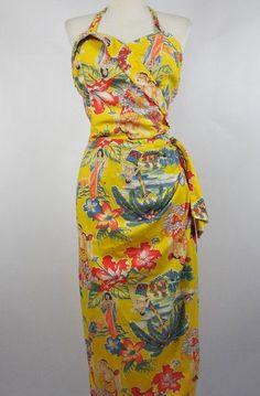 SALE $50 0FF Very Rare Vintage 1950's Hawaiian sarong Dress Frank Mcintosh