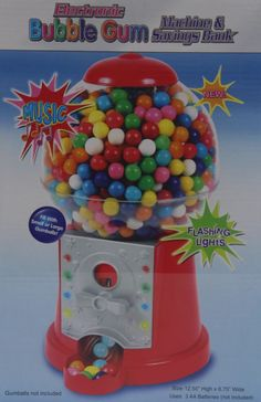 Bubble Gum Machine & Savings Bank. Lights & Music. Fill with Small or Large Gumballs. New in box. | eBay!