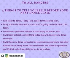 Adding one more for a little self care: I am becoming a smarter stronger dancer and I am right where Im supposed to be in this process called dance. Lydia Hance via Dance Memes, Dance Humor, Dance Quotes, Quotes About Dance, Dancer Problems, Dance Technique, Dance Rooms, Tango Dancers, The Dancer