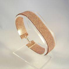 Light Copper Beaded Herringbone Bracelet by desertshinejewelry, $30.00