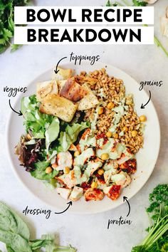 How do you build a dinner bowl recipe? A full breakdown of all of its parts, amounts and recipe inspiration for your next night of bowl recipes! #bowlrecipes #bowls #healthybowls