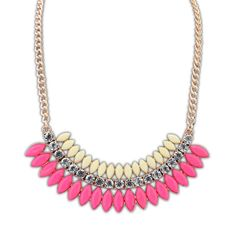Gwen Multi Tier Gem Necklace £8.00  This attractive necklace is suitable for accessorising many different outfits, both formal and informal, making it a versatile addition to your collection. The row of pink oval gems really makes the necklace stand out, which is sure to make a great focal point, as is the middle row of sparkling gem stones.