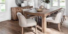 The rustic Jinan Dining Table is a natural beauty - Each piece is crafted from solid wood and is finished to show off the natural markings and grain of the wood. Furniture Dining Table, Interior Furniture, Dining Room Furniture, Furniture, Home Entertainment Furniture, Interior Room Decoration, House Furniture Design, House Interior, Dining